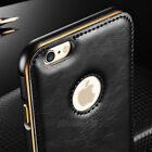 Luxury Leather Aluminum Metal Bumper Frame Case Cover for iPhone 6 /6S Plus 5 5S