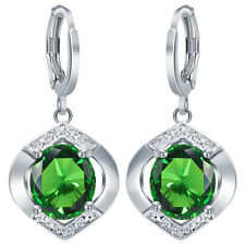 Fashion Women 925 Silver Emerald Stud Dangle Hoop Earrings Lady Jewelry New