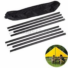 8PCS Universal Canopy Porch Tent Upright King Poles Tarp Tent Cover Awning Black
