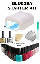 BLUESKY STARTER KIT UV/LED NAIL GEL POLISH WHITE 36W UV LAMP+TOP+BASE+ 3 COLOUR
