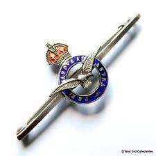 1940s WW2 RAF Silver & Enamel Sweetheart Bar Brooch Badge - KC Royal Air Force