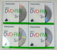 4 Memorex Mini DVD RW Discs 2X 1.4GB 30 Minutes New Sealedm
