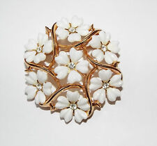 Vintage signed TRIFARI white plastic flower clear rhinestone BROOCH pin costume