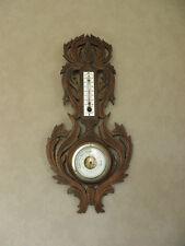Antique Victorian Oak Carved Banjo Barometer Thermometer old wooden Black forest