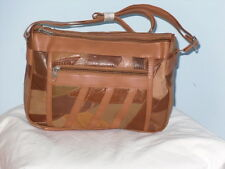 A Patchwork Leather Hand Work Bag With 5 Zip Sections Adjustable Shoulder Strap.