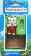 SYLVANIAN FAMILIES 4180 - FIELD MOUSE BABY WITH CRIB AND BOTTLE - NEW!