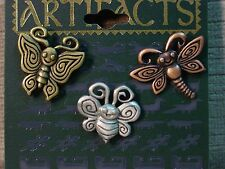 """JJ"" Jonette Jewelry Multi-Colored Pewter Set of 3 'Silly Insects' Tac Pins"