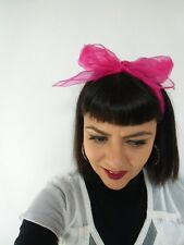 Foulard cheveux fin tulle mousseline transparente rose fuchsia coiffure pinup