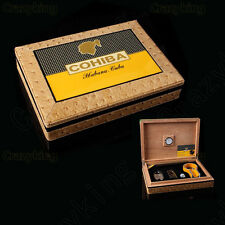 COHIBA Leather Cedar Travel CIGAR HUMIDOR W/ LIGHTER CUTTER ASHTRAY Hygrometer