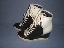 SEE by CHLOE  Leather Wedge Lace Up High Top Sneakers Size 36.5