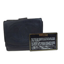 Auth CHANEL CC Logos Bifold Wallet Purse Leather Black Made In France 03B338