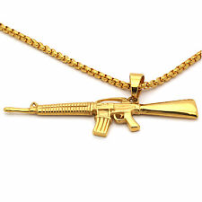 "Stainless Steel Gold Plated Ak74 Big Pendant 24"" Round Box Necklace Chain"