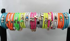 Wholesale jewelry 30strand Leather Mix Pendent Fashion Girl 3pcs in 1 Bracelets