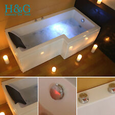 L Shaped Right Hand Whirlpool Corner Bath Shower Spa Jacuzzi  Rectangle Bathtub