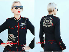 Zara NEW BLACK WOOL BLEND MILITARY EMBROIDERED MANDARiN COLLAR JACKeT COAT XS