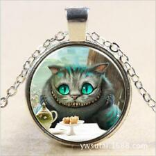 Vintage blue-eyed cat Cabochon Silver plated Glass Chain Pendant Necklace