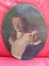 sublime, ancien Tableau__Portrait__2 enfants__Signé: Josef Meton 1910_