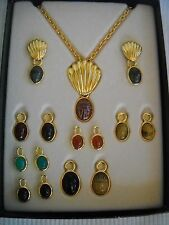 Vintage QVC Shell Necklace & Earrings Set with Interchangeable Scarabs Cabochon