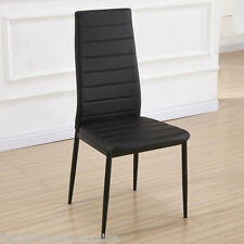 6x Quality Designer Black Faux Leather Modern Black Dining Room Table Chairs
