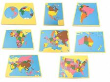 NEW Montessori Geography Material- Board Map Package 1 (Set of 8) with USA