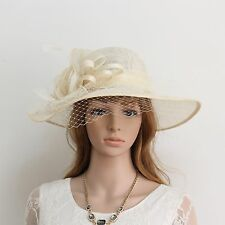New Woman Church Derby Wedding Sinamay Dress Hat Red 266 ivory
