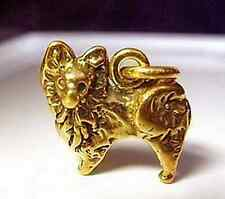 2582 Pomeranian Dog Puppy Gold Plated Charm pendant