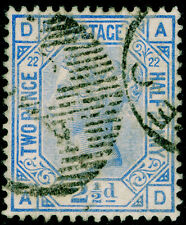 Sg157, 2½d blue plate 22, good used. Cat £40. AD