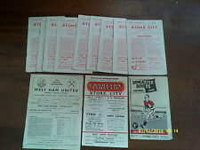 x12 - Stoke City 1957/58 Homes & Aways Programme Collection / Job Lot / 1950s