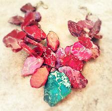 Green Teal Hot Pink Fuschia Summer Jasper Necklace Pendant Statement Jewelry