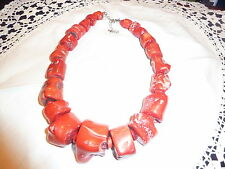 Huge Vintage chunky genuine red coral necklace