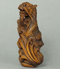 "1940's Japanese handmade Boxwood Netsuke ""DRAGON"" Figurine Carving L07"