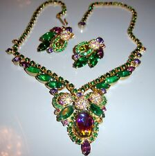 VTG JULIANA D&E WATERMELON RARE ENCRUSTED RHINESTONE BALL NECKLACE EARRING SET