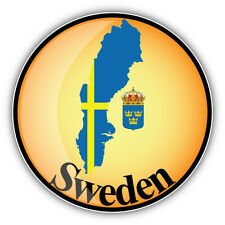 Sweden Map Flag Glossy Label Car Bumper Sticker Decal 5'' x 5''