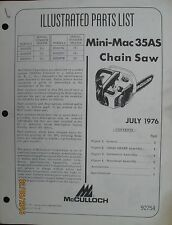 McCULLOCH CHAIN SAW MINI-MAC 35AS Parts List Book Manual Factory Original