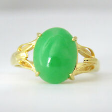 NYJEWEL 18k Solid Gold Brand New Gorgeous Classic Jade Ring