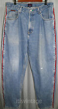 Vtg 90s Tommy Hilfiger Denim Jeans Spell Out Side Seams Tapered Freedom Street