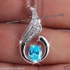 925 Silver Blue Aquamarine Crystal Pedant Necklace Xmas Gifts For Her Wife Women