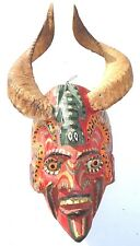VTg Mexican Folks Art Carved Wood Devil  Diablo Mask with Ram Horns & glass eyes