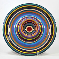 """Tabletops Unlimited HAVANA 13.5"""" Chip & Dip Bowl Colorful Stripe Hand Painted"""