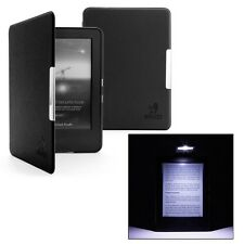 BLACK THIN LEATHER CASE COVER FOR AMAZON KINDLE (7th Gen. 2014-15) & SLIM LIGHT