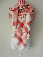 Red White Embroided Arab Shemagh Head Scarf Neck Wrap Cottton Unisex