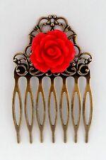 RED ROSE HAIR COMB Shabby Chic Flower Floral Accessory Vintage Brass Filigree