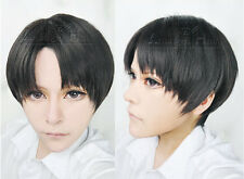 Attack On Titan Levi Cosplay Wig Short Bob Black Synthetic Full Wigs + Hair Cap