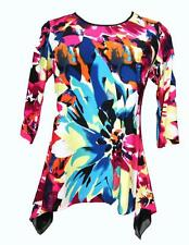 INVESTMENTS Floral 3/4 Sleeve Assymetrical Blouse Size 1X  NEW With Tag