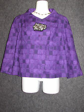 VERA WANG LAVENDER PURPLE Colorful Pattern Pea Coat Jacket SZ 6 / 40