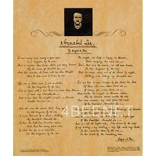 EDGAR ALLEN POE manuscript reproduction ANNABEL LEE rolled parchment poster NEW