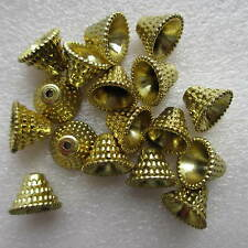 20pcs Gold Acrylic Necklace/Bracelet Patterned Bead End Cone Caps - 10 x 13mm