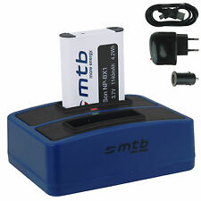 BATTERIA + Dual-Caricatore (USB) np-bx1 per SONY ACTION CAM hdr-as200v/fdr-x1000v