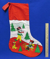 Mickey & Minnie Mouse Pluto Handmade Christmas Stocking Red Green Winter Scene