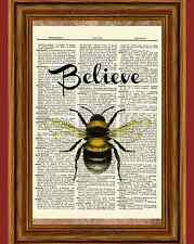 Believe Bee Dictionary Art Print Book Page Picture Bumble Bee Inspiration Poster